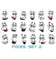 Cartoon human faces with happy emotions vector