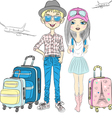 Fashion girl and hipster guy with suitcases travel vector