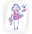 Hand drawn fashion girl vector