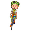A sketch of a boy riding a bicycle vector