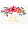 Beautiful colorful flowers watercolor painting vector
