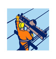 Power lineman telephone repairman electrician vector