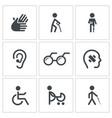 Disability icon collection vector