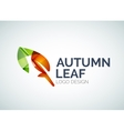Autumn leaf logo design made of color pieces vector