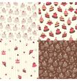 Set of cake seamless patterns vector
