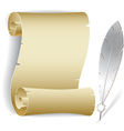 Old paper roll with feather vector