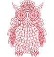 Decorative bird - owl is made of lace isolated vector