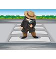 A detective at the pedestrian lane vector