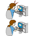 Girl working with computer vector