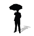 Man with umbrella silhouette vector