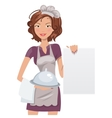 Female chef with menu vector