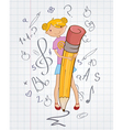 Girl with pencil vector