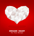Origami heart on red background vector