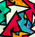 Graffiti geometric seamless pattern with grunge vector