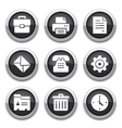 Black office buttons vector