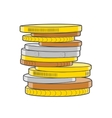 Golden silver and bronze coins stacks vector