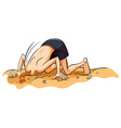 A boy putting his face in the sand vector