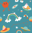Cartoon cosmos and alien blue seamless pattern vector