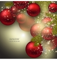 Christmas background with balls red xmas baubles vector