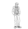 Stylish guy in jacket and jeans with scarf vector