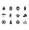 Silhouette surveillance and security icons vector