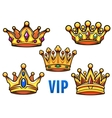 Cartoon golden crowns with colorful jewelry vector