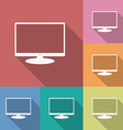 Icon of monitor flat style long shadow vector