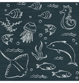Sealife chalkboard seamless pattern vector