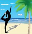 Yoga poses on the beach vector