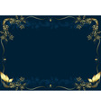 Gold frame on a dark bue background from vegetable vector