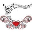 Grunge music heart vector