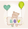 Baby bear with balloons - baby shower vector