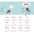 Calendar 2015 year with singing birds vector