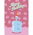 Happy birthday age 8 announcement and celebration vector