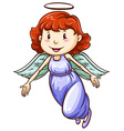 A simple coloured drawing of an angel vector