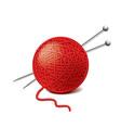 Yarn ball needles isolated vector