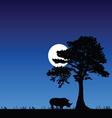 Rhino under the tree and moon vector
