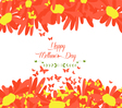 Happy mothers day with sunflowers and butterflies vector