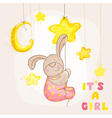 Baby bunny with stars and moon - baby shower vector