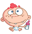 Toothy baby with freckles and red hair vector