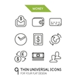 Collection of money finance trendy thin line icons vector