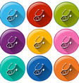 Round buttons with stethoscopes vector