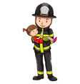 Fireman and girl vector