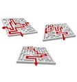 Gray mazes or labyrinths with red prompts vector
