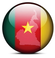 Map on flag button of republic of cameroon vector
