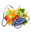 Fruit with a stethoscope healthy eating concept vector