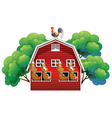 A farmhouse with four horses and a rooster vector