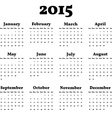 Simply classic calendar for 2015 year background vector
