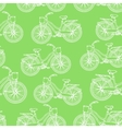Seamless pattern with outline vintage bicycles vector