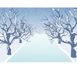 Holiday winter landscape background with winter tr vector